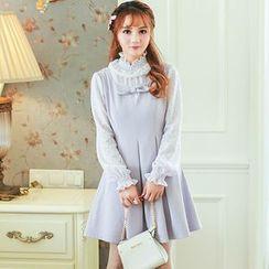 Altalena - Ruffled-Neckline Lace-Panel Knit A-Line Dress