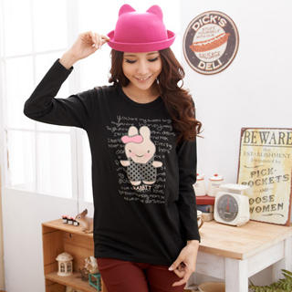 RingBear - 'Rabbit' Print Long Sleeve Scoop Neck Tee