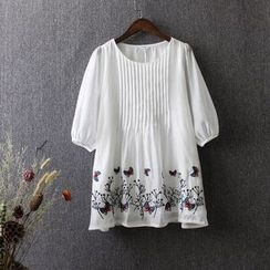 Blue Rose - Butterfly Embroidered Elbow Sleeve Chiffon Top