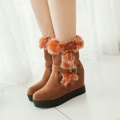 Pastel Pairs - Furry Trim Hidden Wedge Short Boots