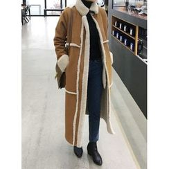STYLEBYYAM - High-Neck Faux-Shearling Long Coat