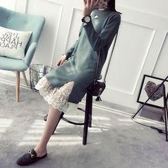 Qimi - Cutout Slit Knit Dress
