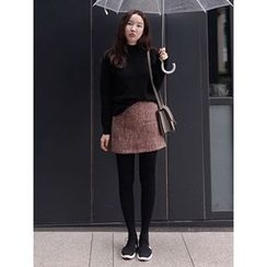 maybe-baby - Wool Blend Tweed Mini Skirt