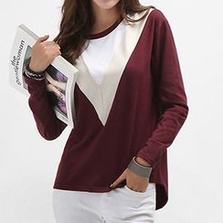 Ranee - Long-Sleeve Color-Block Top