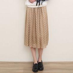 三木社 - 百褶蕾丝长裙