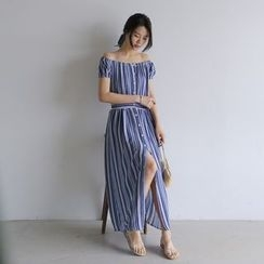 WITH IPUN - Off-Shoulder Pattern Buttoned Long Dress with Sash