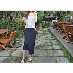 Hello sweety - Asymmetric-Hem Maxi Skirt