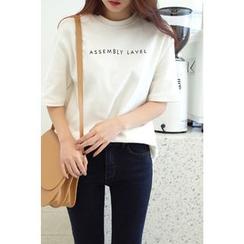 CHERRYKOKO - Elbow-Sleeve Letter Print T-Shirt