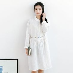 Forest Girl - Flower Embroidered Collared Long Sleeve Dress
