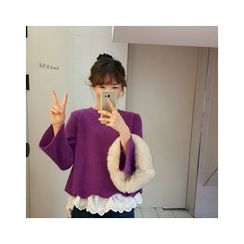 LEELIN - Wave-Hem Wool Sweater
