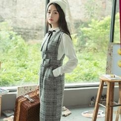 Hazie - 套装: 纯色衬衣 + 格子背心裙