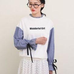 三木社 - 条纹拼接假两件衬衫
