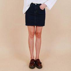Vintage Vender - Stitched Denim Mini Skirt