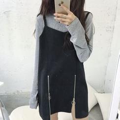 EEKO - 前拉链吊带连衣裙