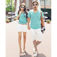 Lovebirds - Short-Sleeve V-Neck Couple T-Shirt
