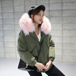 STYLEBYYAM - Faux Fur-Trim Drawstring-Waist Jacket