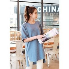J-ANN - Elbow-Sleeve Slit-Side T-Shirt