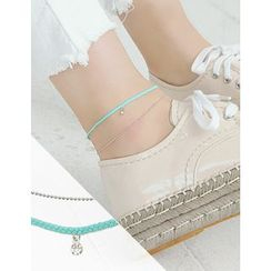 soo n soo - Thread Layered Rhinestone Anklet