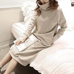 Jolly Club - Mock-Neck Plain Pullover Dress