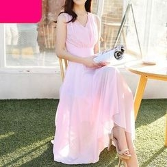 Eferu - V-neck Sleeveless Chiffon Dress