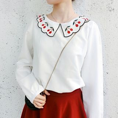 AMELA - Cherry Embroidered Collared Long Sleeve Chiffon Blouse