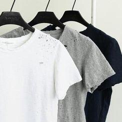 NANING9 - Cotton Distressed T-Shirt