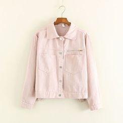 Mushi - Pocketed Cropped Denim Jacket
