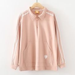 ninna nanna - Embroidered Collared Sweatshirt