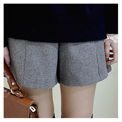 Sechuna - Band-Waist Wool Blend Shorts