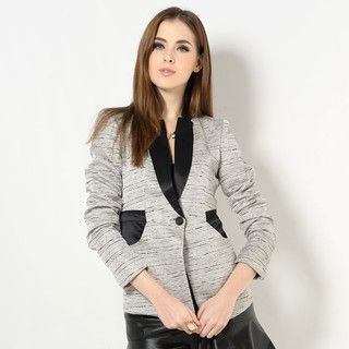 YesStyle Z - Satin-Panel Textured Blazer