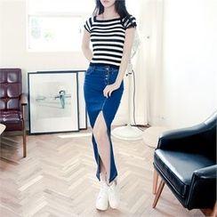 clubber - Slit-Front Washed Denim Long Skirt