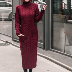 Seoul Fashion - Turtle-Neck Long Cable-Knit Dress