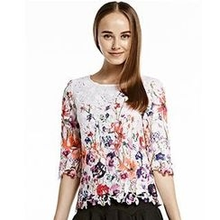 O.SA - 3/4-Sleeve Floral Lace Top