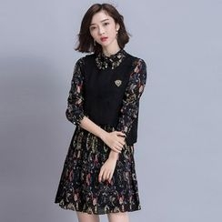 MIUCO - 套裝: 印花七分袖連衣裙 + 馬甲