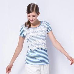 O.SA - Short-Sleeve Lace-Front Striped Top