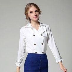 MIUCO - Set: Double-breasted Long-Sleeve Blouse + Denim Skirt