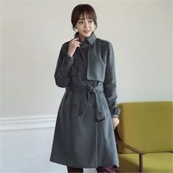 ode' - Flap-Front Wool Blend Trench Coat with Belt