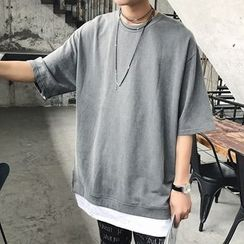 Streetstar - Plain Elbow-Sleeve Mock Two-Piece T-Shirt