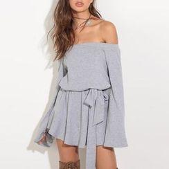 Obel - Plain Off Shoulder Long Sleeve Dress