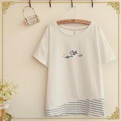 Fairyland - Short Sleeves Print Striped Panel T-shirt