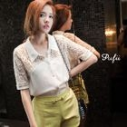 PUFII - Asymmetric-Hem Crochet-Panel Blouse