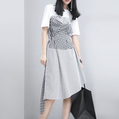 Sonne - Patchwork Houndstooth-Panel A-Line Dress