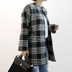STYLEBYYAM - Collarless Check Open-Front Coat