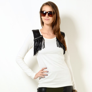 YesStyle Z - Faux Leather Fringe Panel Long-Sleeved T-Shirt