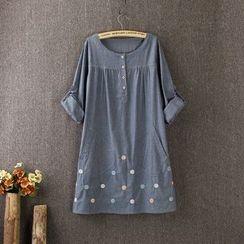 藍玫瑰衣坊 - 長袖刺繡A字裙