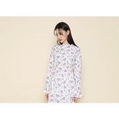 Envy Look - Mock-Neck Floral-Pattern Dress