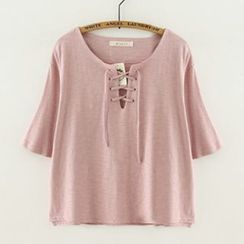 Meimei - Lace-Up Short-Sleeve T-Shirt