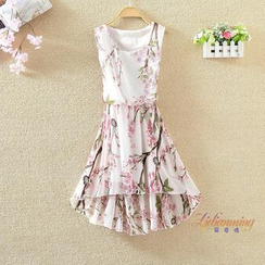 Clementine - Floral Print Sleeveless Chiffon Dress