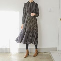 JUSTONE - Mandarin-Collar Patterned Long Shirtdress with Sash