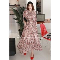 Miamasvin - Tie-Neck Flower Pattern Long Dress